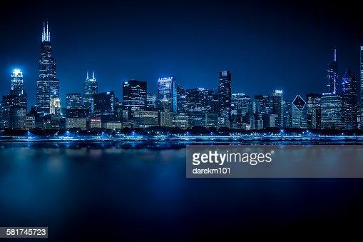 Chicago skyline at Night, Illinois, USA