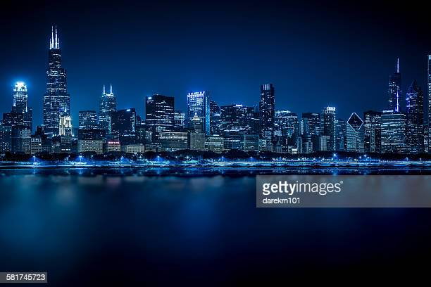 Chicago skyline at Night, Illinois, USA