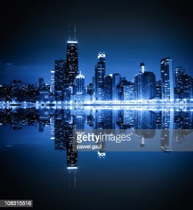 Chicago skyline by night : Foto de stock