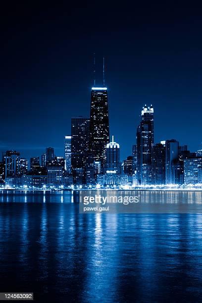 Chicago skyline by night