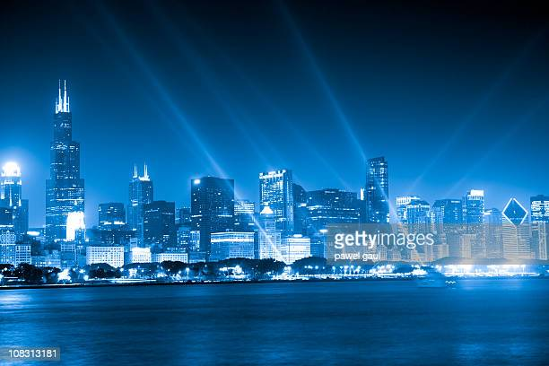 Chicago skyline by night, toned image