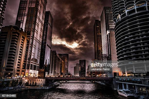 Chicago skyline financial district at night