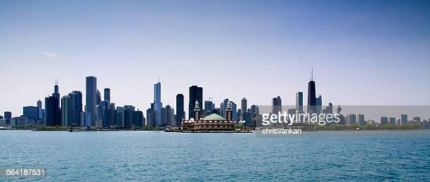Chicago skyline from Lake Michigan, Illinois, USA