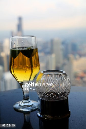 Chicago skyline in beer glass