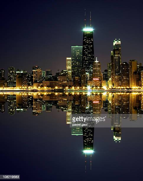 Chicago Skyline Reflected on Lake Michigan at Night