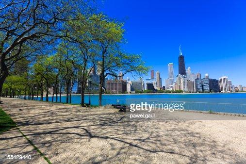 Chicago skyline seen from promenade