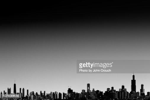 Chicago skyline silhouette : Stock Photo