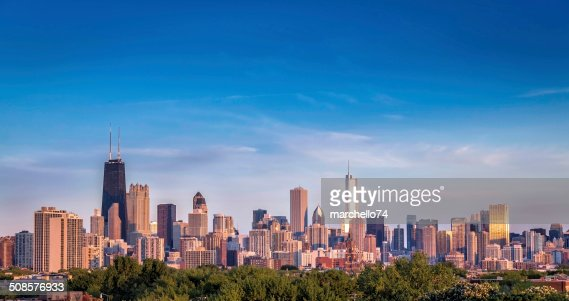 Chicago skyline sunset panorama : Stock Photo