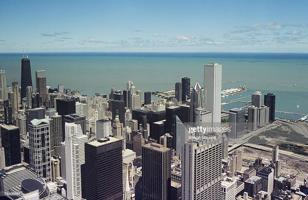 Chicago skyscrapers and lake michigan