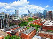 Photo provides a view of downtown Chicago, south loop residential area.