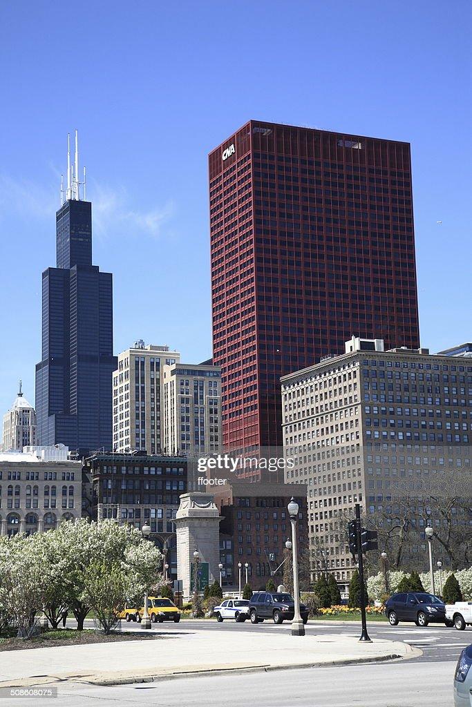 Chicago Street Corner and Skyline : Stock Photo