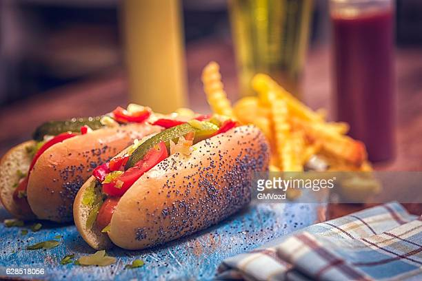 Chicago Style Hot Dog with Bacon, Chili Beans and Cheese