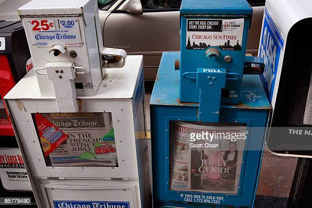 Chicago Sun Times and Chicago Tribune newspapers are offered for sale April 2 2009 in Chicago Illinois Both newspapers are operating under bankruptcy...