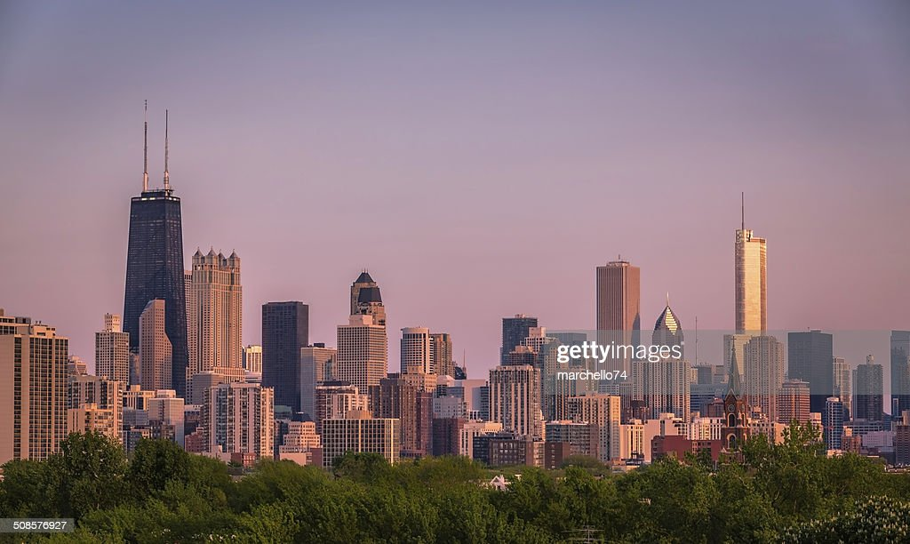 Chicago skyline bei Sonnenuntergang : Stock-Foto