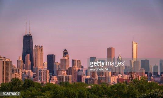 Chicago sunset skyline : Stock Photo