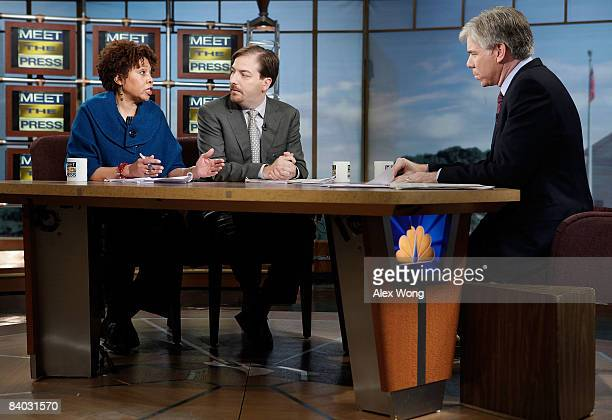 Chicago SunTimes editorial board member and columnist Mary Mitchell speaks as NBC Political Director Chuck Todd and moderator David Gregory listen...