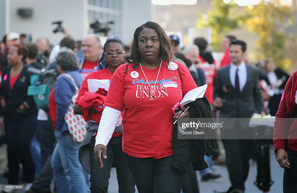 Chicago Teachers Union delegates leave a union hall after voting to end their strike on September 18 2012 in Chicago Illinois More than 26000 Chicago...
