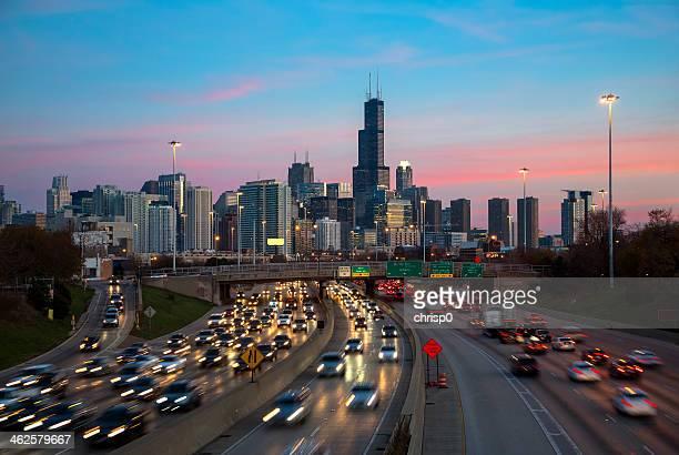 シカゴ交通、夕暮れ時の街並みの眺め