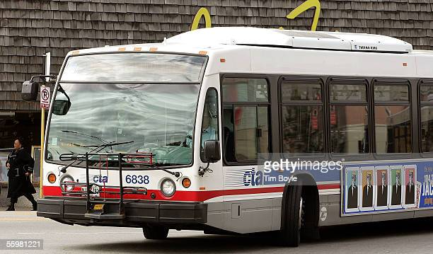 Chicago Transit Authority bus is seen making a turn on a street October 21 2005 in Chicago Illinois Public mass transit carriers in the US are...