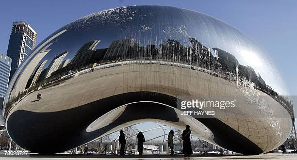 Ice forms on the mirrored statue called Cloud Gate by British artist Anish Kapoor or better known as the 'Bean' in Chicago's Millennium Park 17...