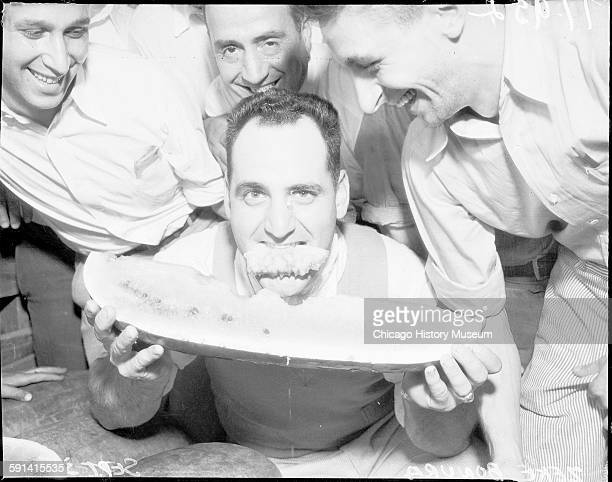Chicago White Sox baseball player Zeke Bonura eating a watermelon Chicago Illinois September 1935 From the Chicago Daily News collection