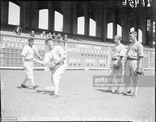 Chicago White Sox baseball players Luke Appling Tony Piet and their brothers Horace Appling and Joseph Piet at Comiskey Park Chicago Illinois August...