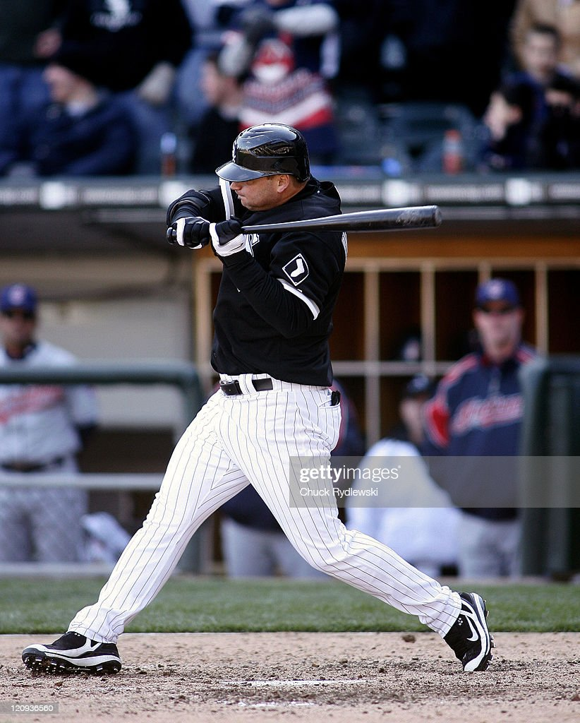 Chicago White Sox Catcher, <a gi-track='captionPersonalityLinkClicked' href=/galleries/search?phrase=A.J.+Pierzynski&family=editorial&specificpeople=204486 ng-click='$event.stopPropagation()'>A.J. Pierzynski</a>, grimaces after being nicked by a pitch in the 9th inning of their game against the Cleveland Indians, April 5, 2007 at U.S. Cellular Field in Chicago, Illinois. Pierzynski getting hit would force in the winning run in the White Sox 4-3 victory over the Indians.