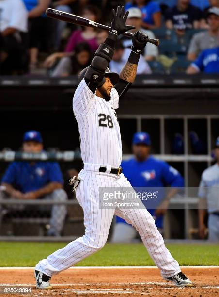 Chicago White Sox center fielder Leury Garcia dodges an inside fastball during the game between the Toronto Blue Jays and the Chicago White Sox on...