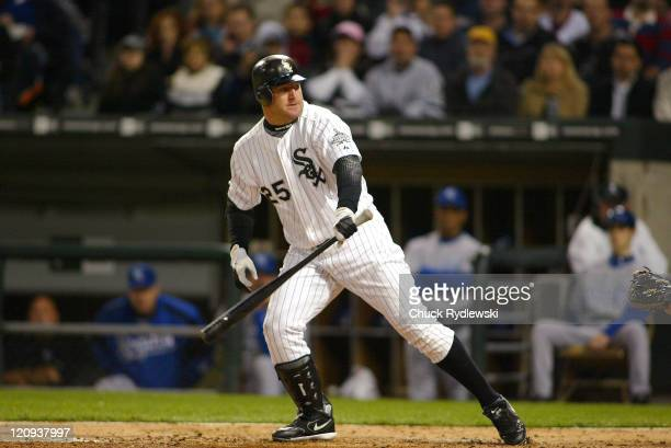 Chicago White Sox' DH/1B Jim Thome heads for 1st thinking he had walked but Home Plate Umpire Gerry Davis called him out on strikes during their game...