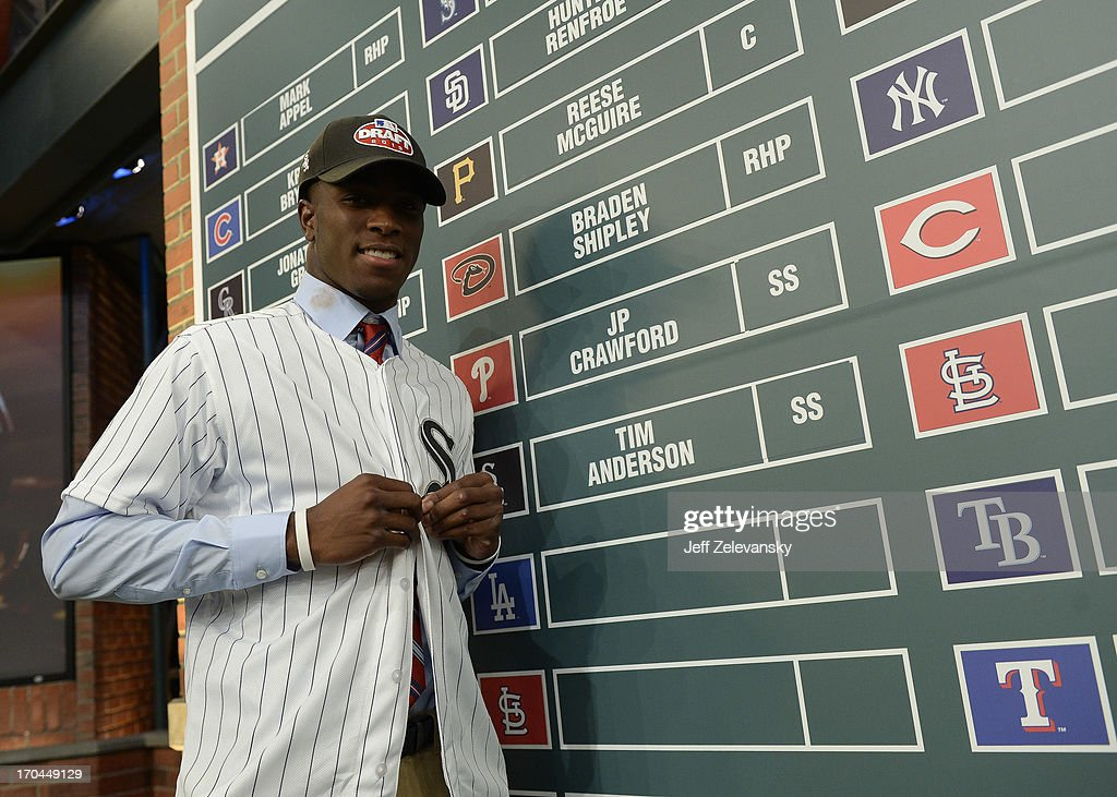 Chicago White Sox draftee Tim Anderson poses near the draft board at the 2013 MLB First-Year Player Draft at the MLB Network on June 6, 2013 in Secaucus, New Jersey.