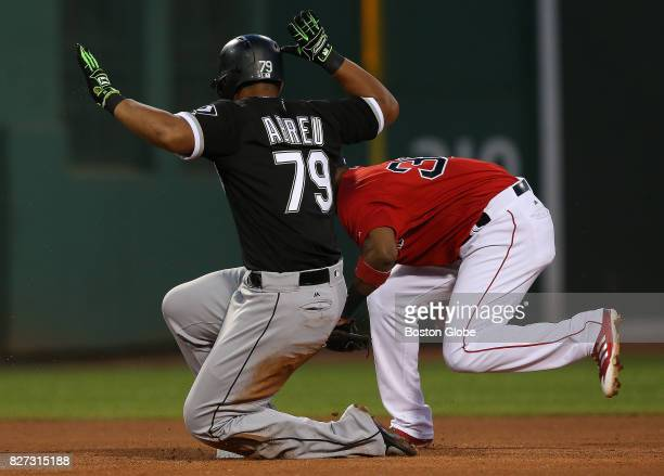 Chicago White Sox first baseman Jose Abreu is safe at second with a leadoff double in the fourth inning The Boston Red Sox host the Chicago White Sox...