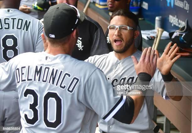 Chicago White Sox first baseman Nicky Delmonico and Chicago White Sox third baseman Yolmer Sanchez go through pregame rituals before a Major League...