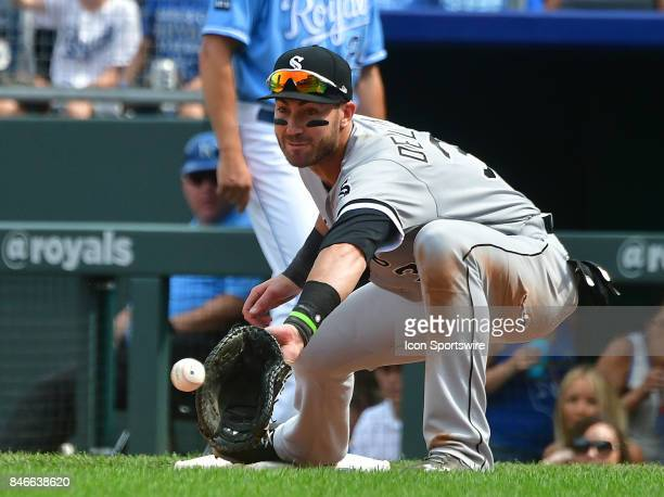 Chicago White Sox first baseman Nicky Delmonico catches for an out during a Major League baseball game between the Chicago White Sox and the Kansas...