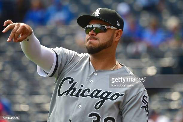 Chicago White Sox first baseman Nicky Delmonico warms up before a Major League baseball game between the Chicago White Sox and the Kansas City Royals...