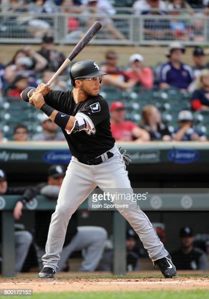 Chicago White Sox Infield Yolmer Sanchez at the plate during a MLB game between the Minnesota Twins and Chicago White Sox on June 22 2017 at Target...
