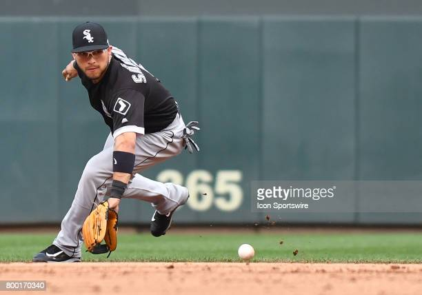 Chicago White Sox Infield Yolmer Sanchez backhands a ball during a MLB game between the Minnesota Twins and Chicago White Sox on June 22 2017 at...
