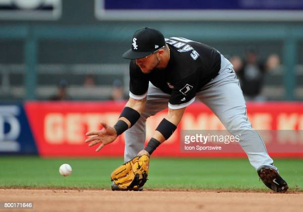 Chicago White Sox Infield Yolmer Sanchez fields a ground ball during a MLB game between the Minnesota Twins and Chicago White Sox on June 22 2017 at...