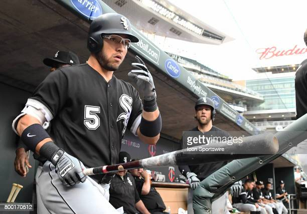 Chicago White Sox Infield Yolmer Sanchez heads to the on deck circle during a MLB game between the Minnesota Twins and Chicago White Sox on June 22...