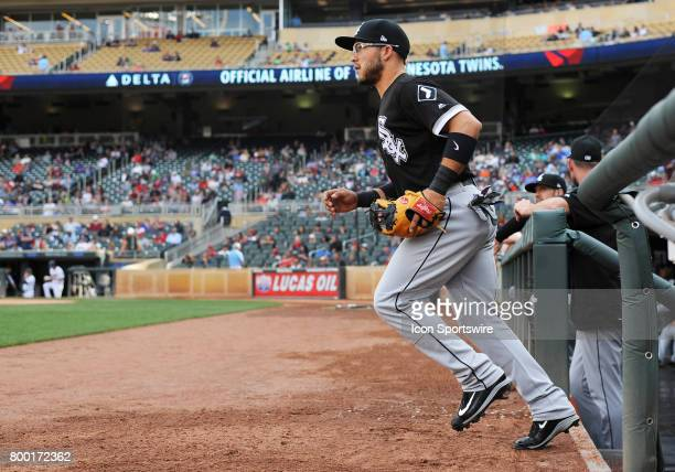 Chicago White Sox Infield Yolmer Sanchez takes the field during a MLB game between the Minnesota Twins and Chicago White Sox on June 22 2017 at...