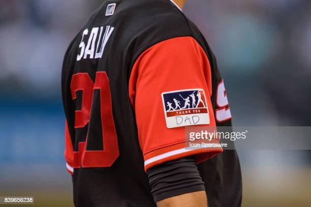 Chicago White Sox infielder Tyler Saladino wears a players weekend patch saying Thank You Dad in the 2nd inning during an MLB game between the...