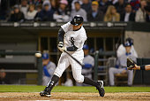Chicago White Sox' Left Fielder Scott Podsednik doubles during their game against the Kansas City Royals May 5 2006 at US Cellular Field in Chicago...