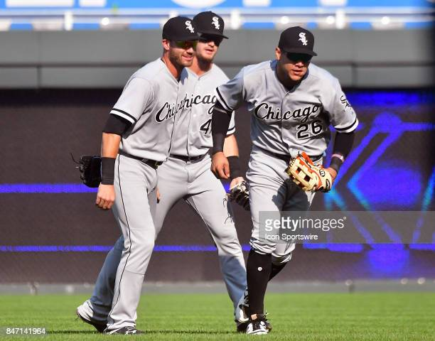 Chicago White Sox outfielders Nicky Delmonico Adam Engel and Avasail Garcia celebrate a win after a Major League baseball game between the Chicago...