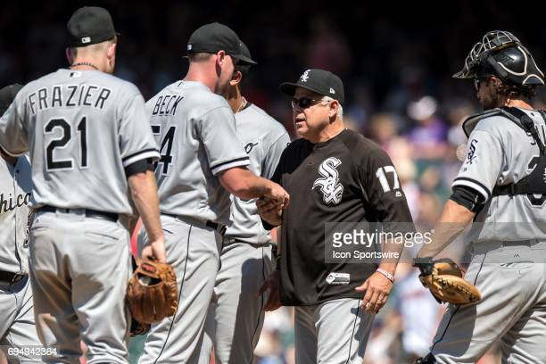 Chicago White Sox pitcher Chris Beck hands the ball to Chicago White Sox manager Rick Renteria as he leaves the game during the seventh inning of the...