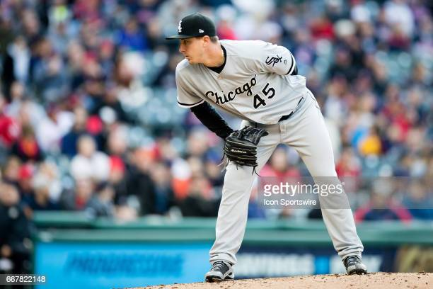Chicago White Sox Pitcher Derek Holland looks in for a sign during the second inning of the Major League Baseball game between the Chicago White Sox...