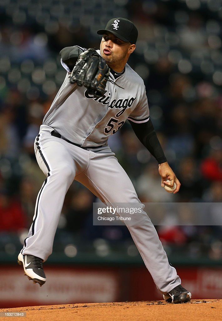 Chicago White Sox pitcher Hector Santiago throws against the Cleveland Indians at Progressive Field in Cleveland, Ohio on Monday, October 1, 2012.