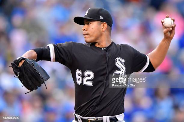 Chicago White Sox pitcher Jose Quintana throws in the first inning against the Kansas City Royals at Kauffman Stadium in Kansas City Mo on Tuesday...