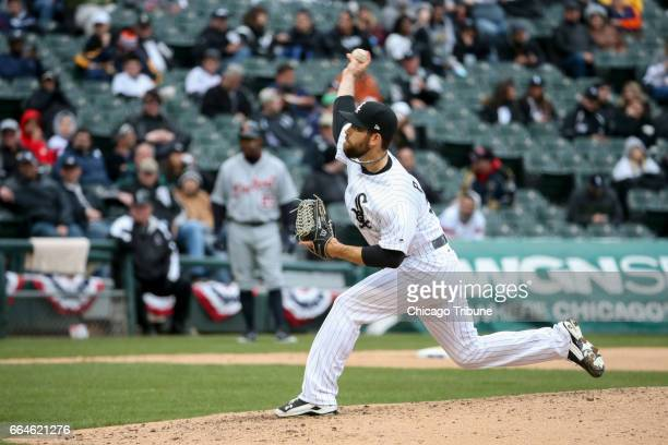 Chicago White Sox pitcher Zach Putnam works during the eighth inning against the Detroit Tigers at Guaranteed Rate Field in Chicago on Tuesday April...