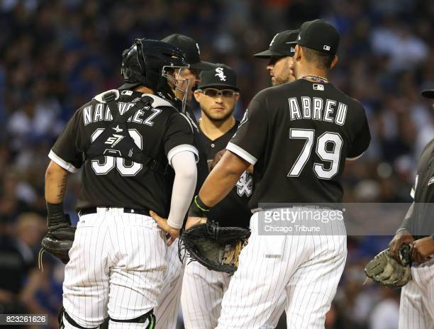 Chicago White Sox pitching coach Don Cooper comes to the mound to speak with starting pitcher James Shields during the fourth inning against the...