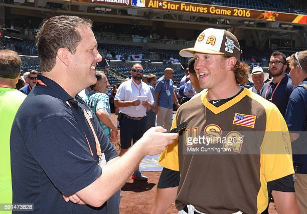 Chicago White Sox prospect Carson Fulmer of Team USA gives an interview prior to the SiriusXM AllStar Futures Game at PETCO Park on July 10 2016 in...