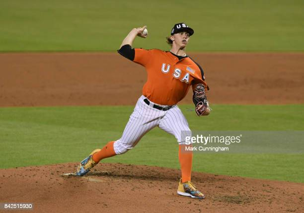 Chicago White Sox prospect Michael Kopech of Team USA pitches during the 2017 SiriusXM AllStar Futures Game at Marlins Park on July 9 2017 in Miami...